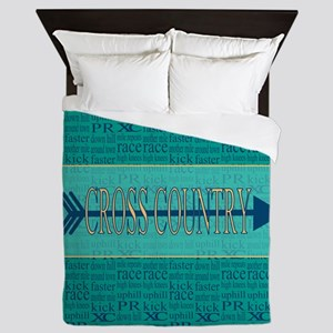Cross Country Running Collage Blue Queen Duvet